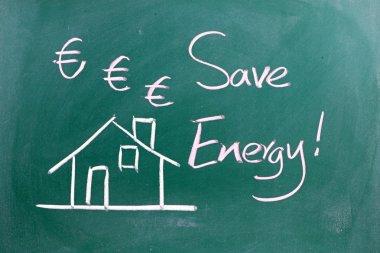 Energy Saving sign on blackboard