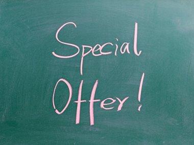 Special offer sign on blackboard