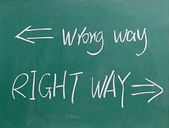 Fotografie Wrong way and right way sign