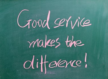 Good service makes the difference written on chalkboard