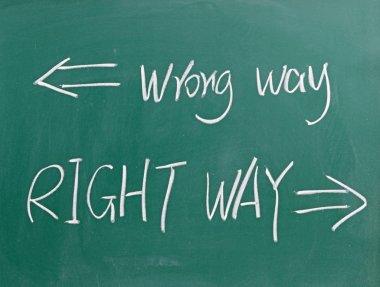 Wrong way and right way sign