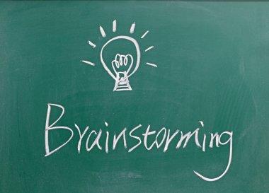 Brainstorming sign on blackboard