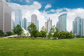 Fotografie City park with modern building background in Shanghai