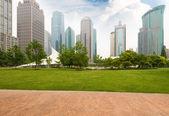 shanghai City park modern épülete háttérrel rendelkező