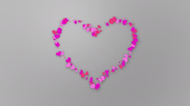 Farbige rosa Herzen in verschiedenen Größen bewegen sich entlang einer Kontur und bilden ein großes Herz auf hellem Hintergrund. Illustration.