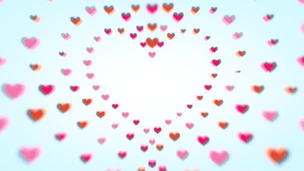 Rote blinkende Herzen unterschiedlicher Größe bewegen sich entlang der Kontur und bilden große Herzen und eine Art Tunnel mit Schärfentiefe. Illustration.