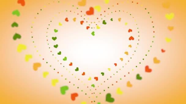 Különböző méretű színes villogó szívek mozognak a kontúr mentén, hogy nagy szíveket alkossanak elmosódott széleken. Illusztráció.