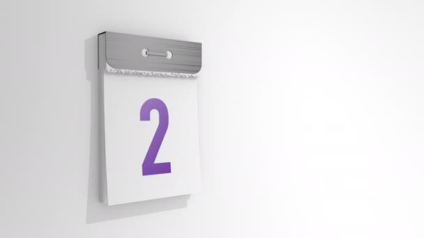 Animáció egy stílusos letéphető naptárból a 2. és 3. dátumtól. Az oldal a kettessel lejön és leesik, és alatta a hármas. 3D renderelés, 3D illusztráció.
