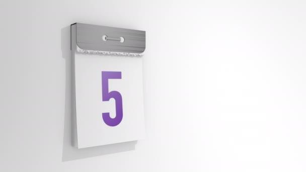 Animáció egy stílusos letéphető naptárról 5-től 6-ig. Az ötödik oldal lejön és leesik, alatta pedig a hatodik. 3D renderelés, 3D illusztráció.