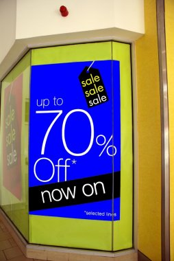 Sale sign. up to seventy percent off now on selected lines.