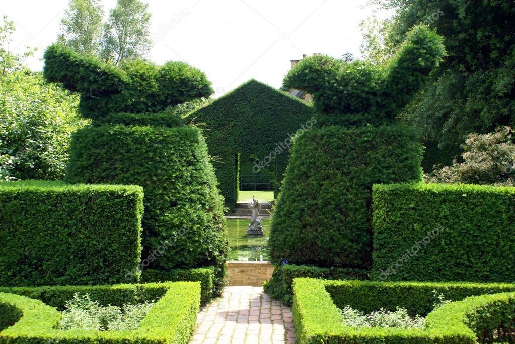 Fontaine et jardin topiaire d 39 ifs photographie rose4 - Jardin topiaire ...