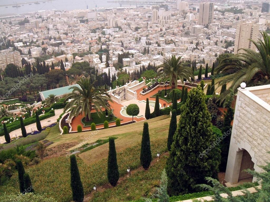 Bahai temple garden and Haifa city in Israel — Stock Photo © rose4 ...
