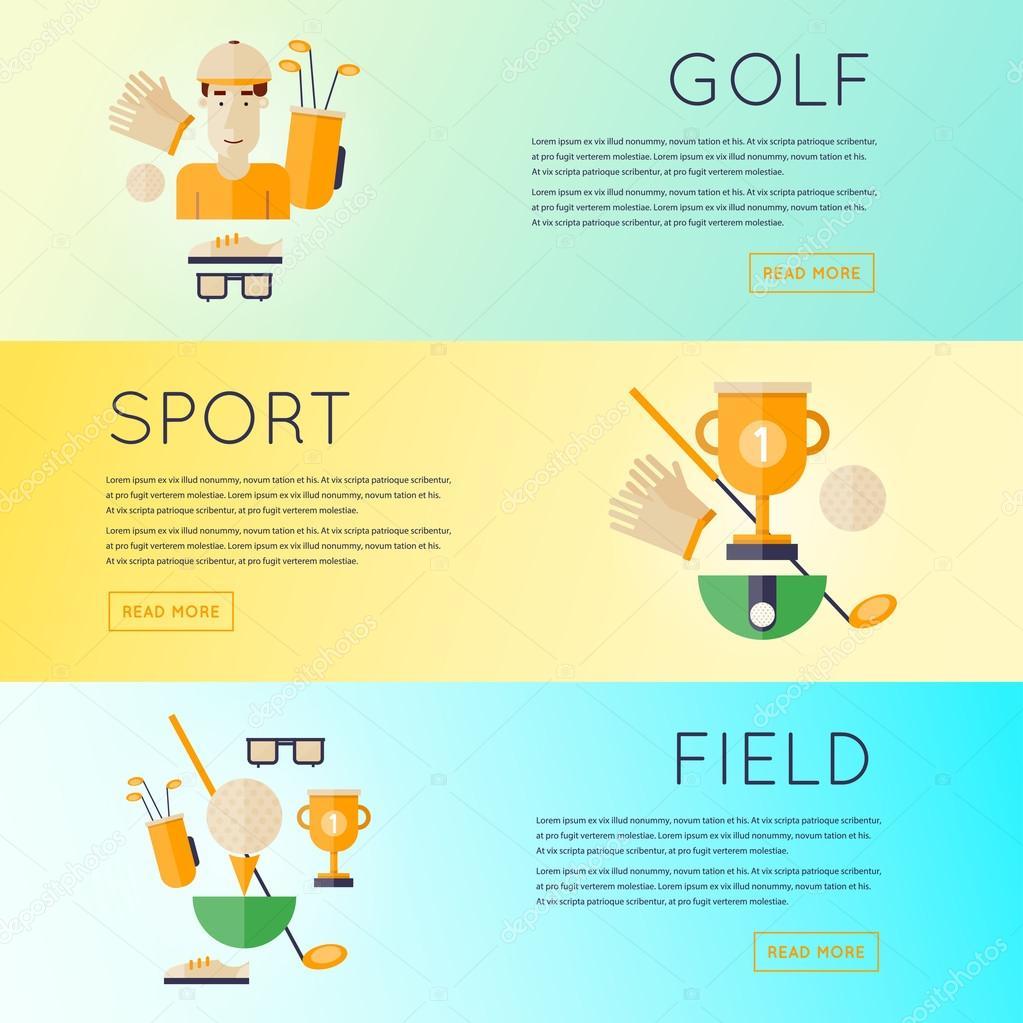 9256efc6a Club de golf banners conjunto. Ilustración de vector de diseño plano —  Vector de ...