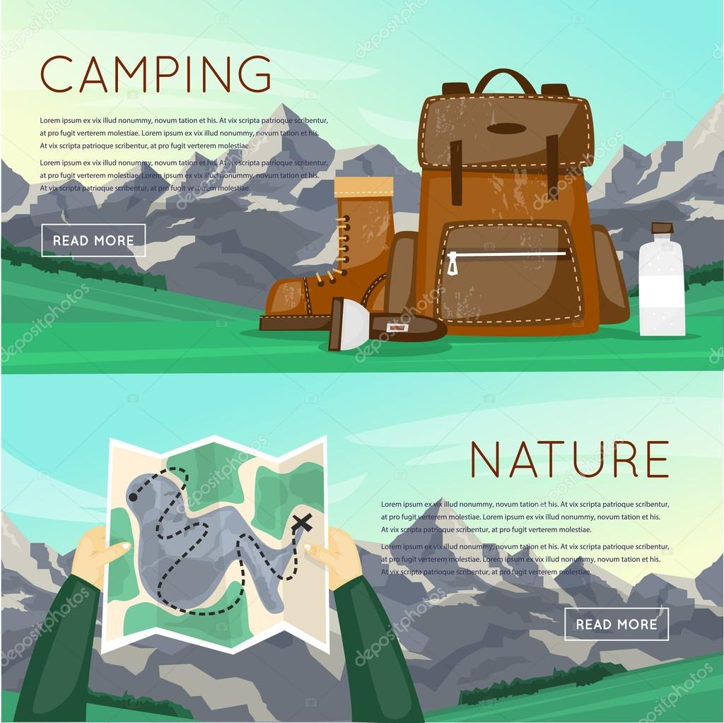 Outdoor activities. Summer adventure. Mountain, hiking equipment, camping. Card in a human hand. Banners. Vector illustration and flat icons. stock vector