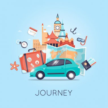 Travel by car. Tourism and vacation theme