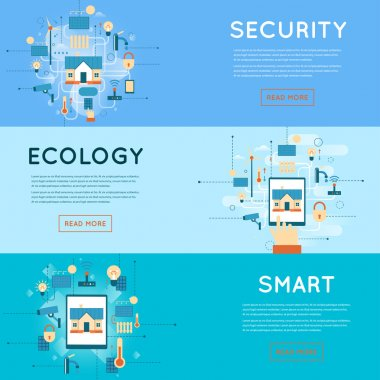 security, ecology and smart home banners