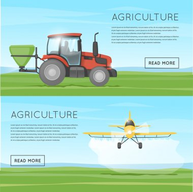 Tractor and yellow plane