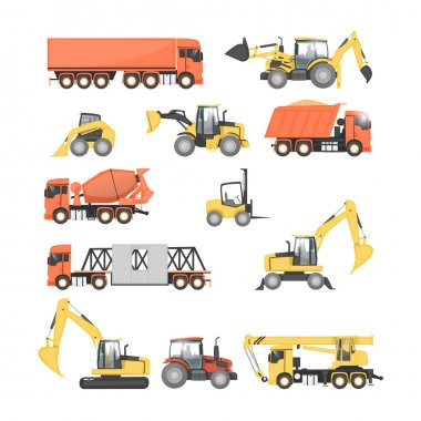 Set of heavy machinery for road repair