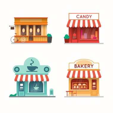 Set of shops and stores building facades