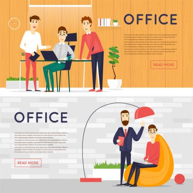 Business cartoon characters. Office workplace banners