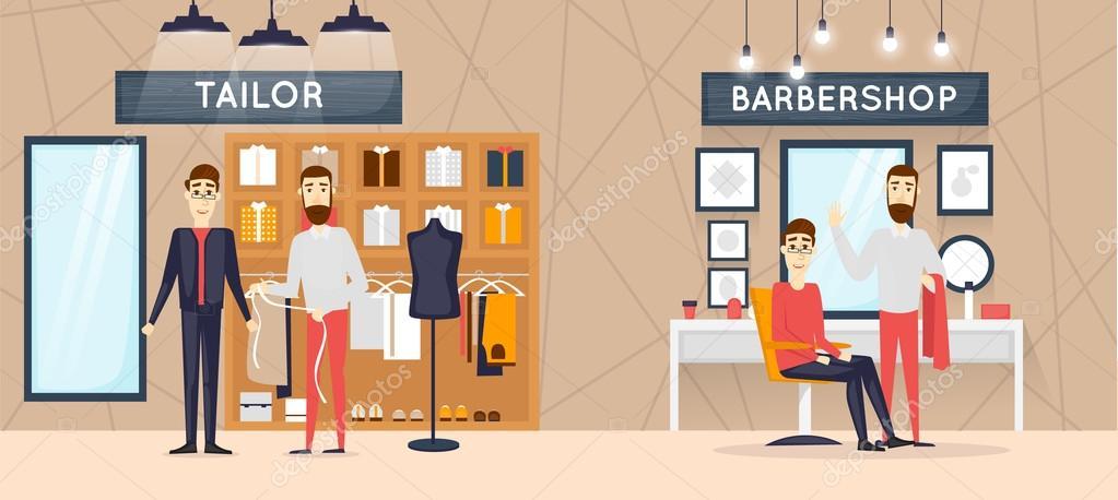 Barbershop interior stylish hair salon stock vector - Barber vs hair salon ...