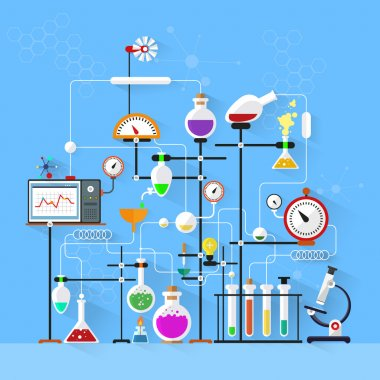 Flat design. Laboratory workspace and workplace concept.Chemistry, physics, biology.Modern vector illustration.