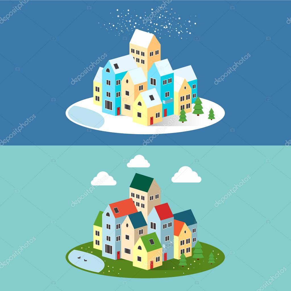 Summer and winter cityscape with long shadow on an oval background. Happy new year. Ecology environmental protection. Vector illustrations. Christmas.