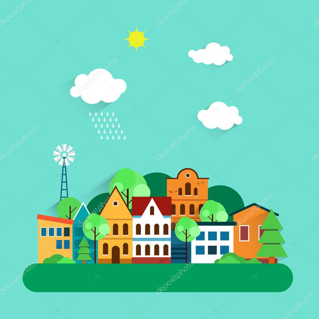 Color urban landscape flat illustrations. Ecology, environmental protection. Vector illustration.