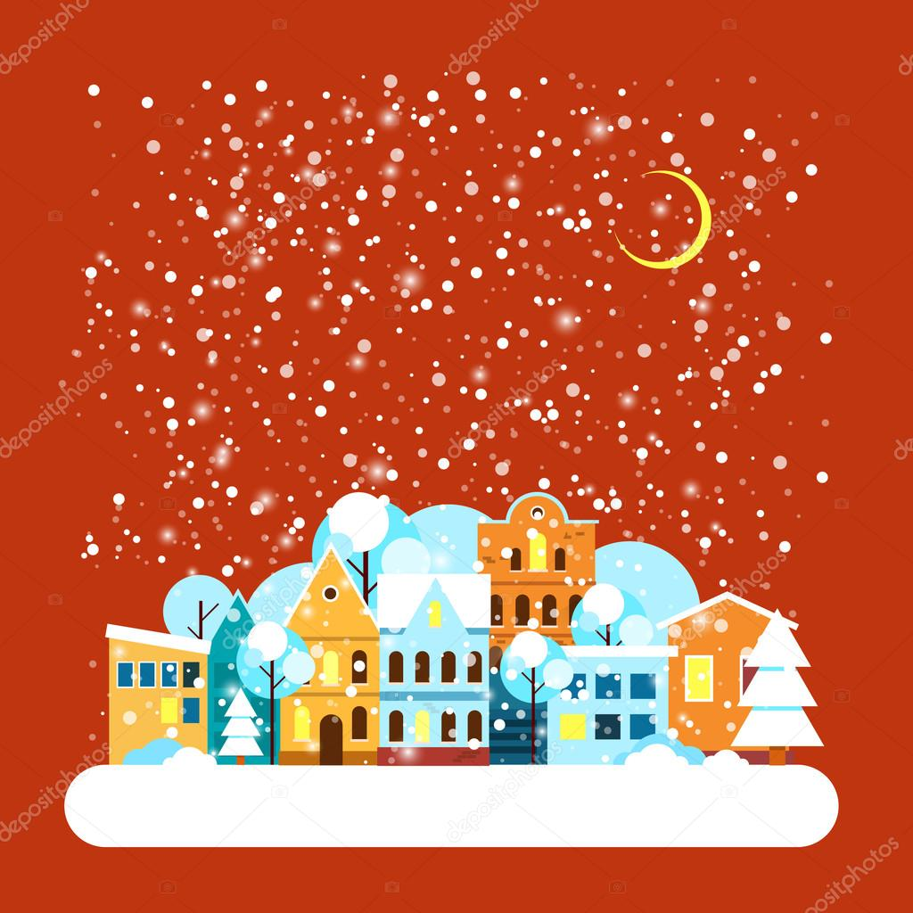 Card with city winter landscape with falling snow. Winter holidays landscape with snow covered city. Merry Christmas and Happy New Year greeting card. Vector Flat illustrations.