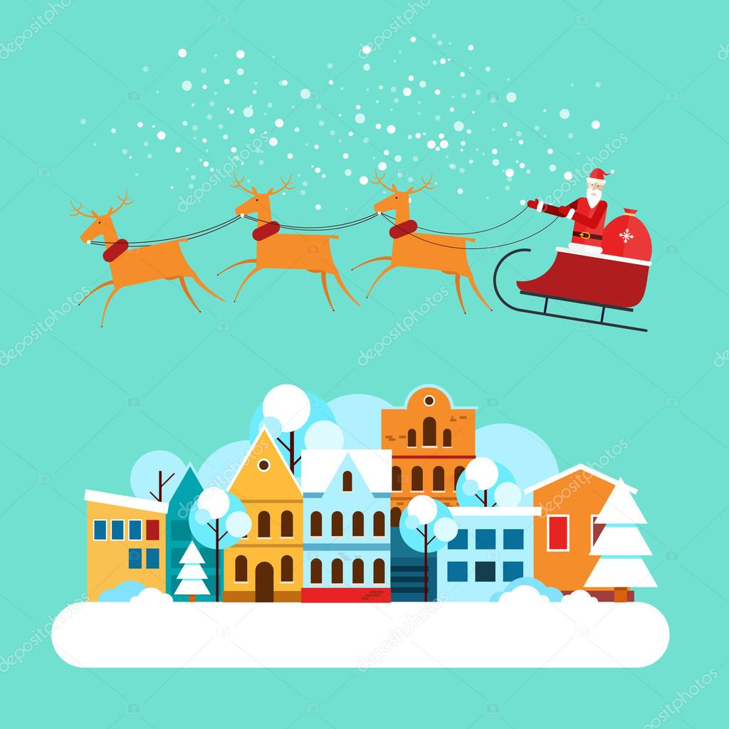 christmas landscape with flying over the city of santa claus in a