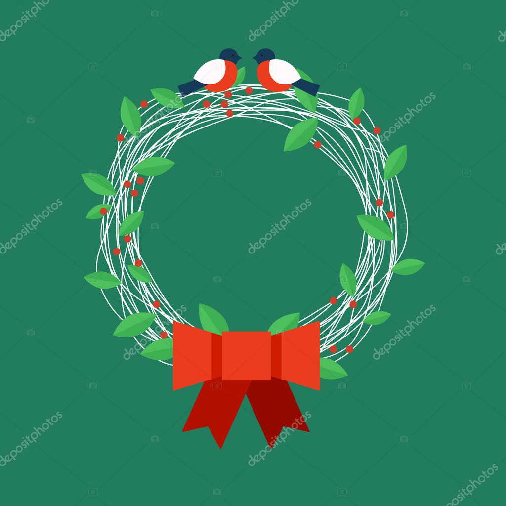 Christmas wreath with bullfinches. Vector illustration.