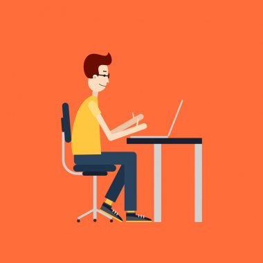 Freelancer at work. Workplace with the desktop computer. Flat design.