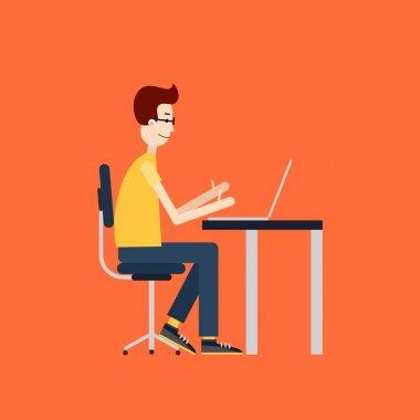 Freelancer at work. Workplace with the desktop computer. Flat design.