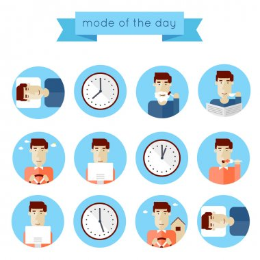Concept of man daily routine