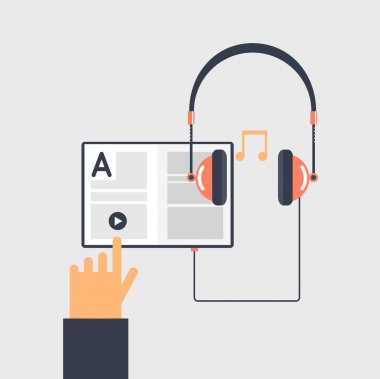 Audio book and e-learning concept.
