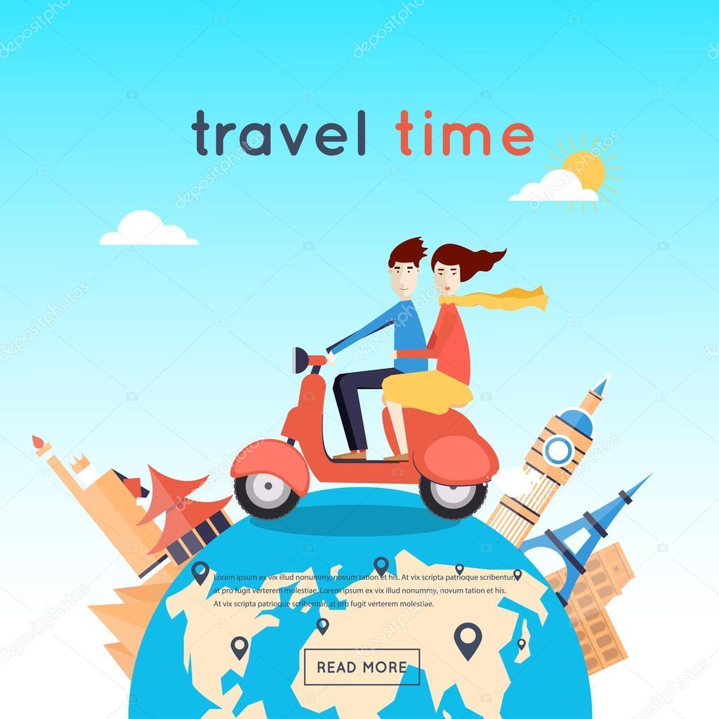 Man and woman travel around world