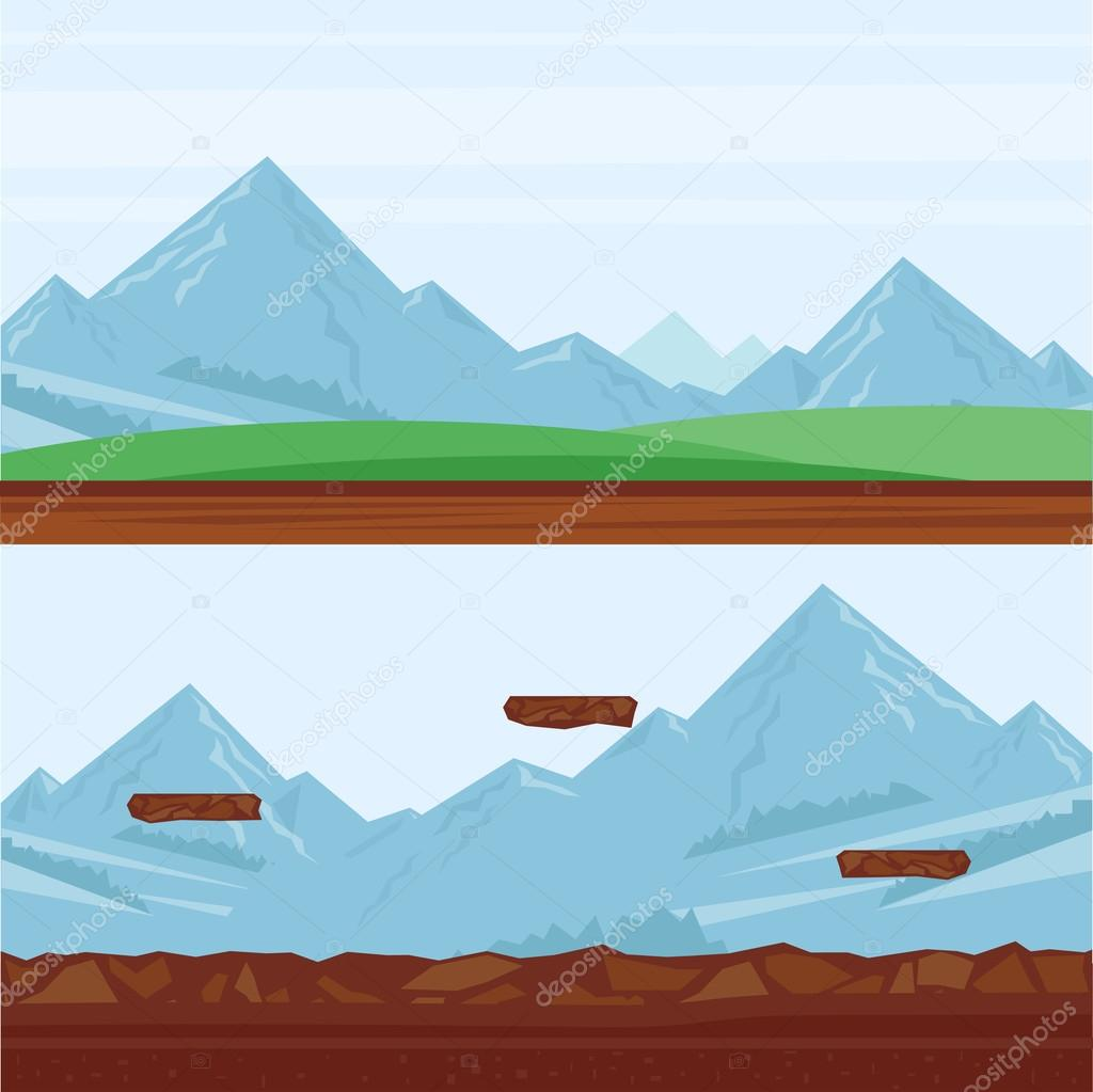 Background for games, mountain landscape