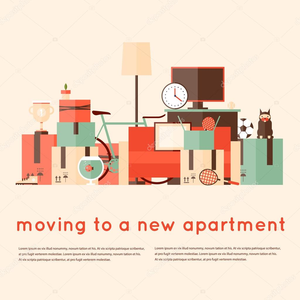 moving into new apartment stock vector odis 77376134. Black Bedroom Furniture Sets. Home Design Ideas