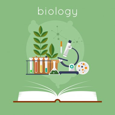 Open book with tools for biology