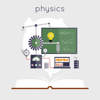 Open book with tools for physics