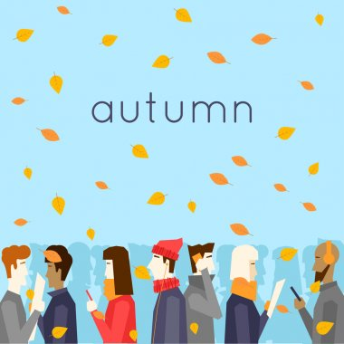Autumn people and falling leaves