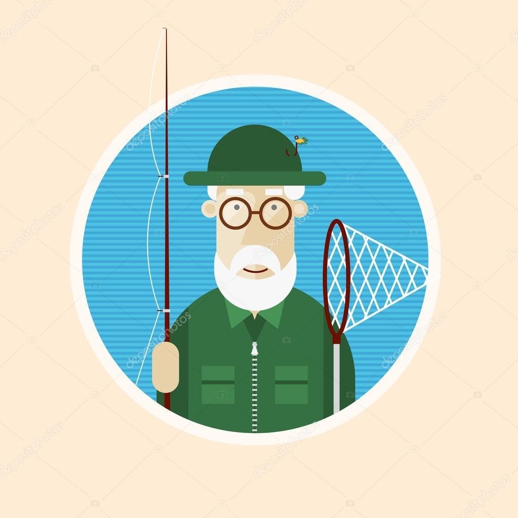 Grandfather fisherman illustration.