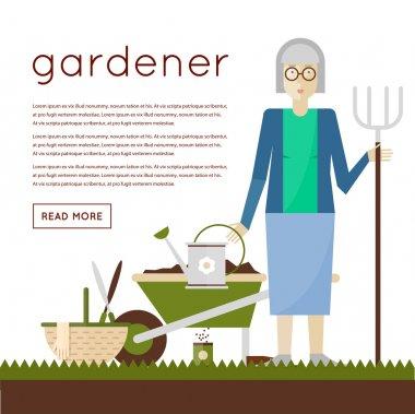 Grandmother gardener grows flowers.