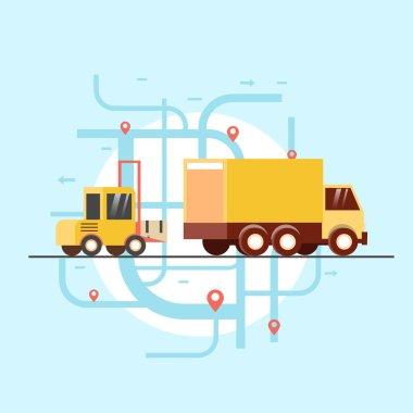 Freight kara ships goods in truck