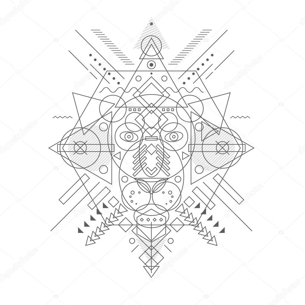 Tete De Lion Dessine Des Formes Geometriques Image Vectorielle