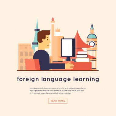 Man studying foreign languages