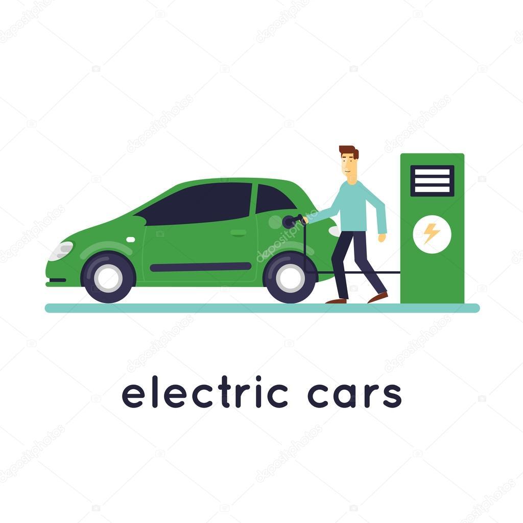 Man Kosten Elektrische Auto S Stockvector C Odis 96365432