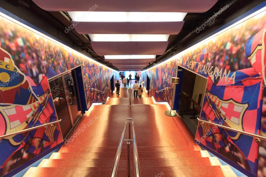 football stadium camp nou players tunnel in barcelona  u2013 stock editorial photo  u00a9 schlenger86