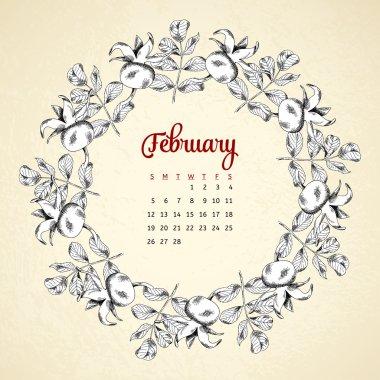 Calendar 2017. Vintage circle frame