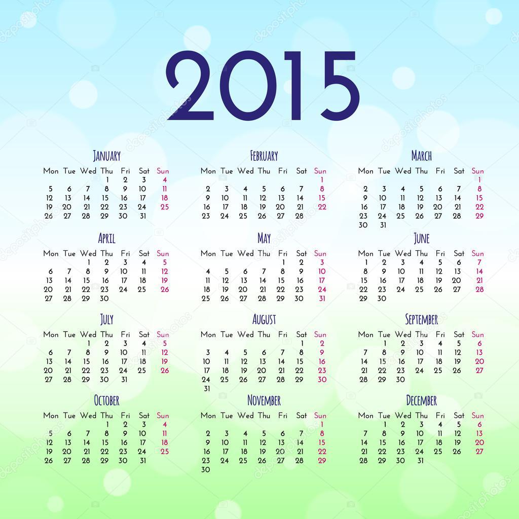 Plantilla de diseño de calendario 2015 — Archivo Imágenes ...